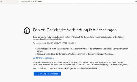 Website der Stadt Pulheim für aktuelle Browser nicht mehr erreichbar