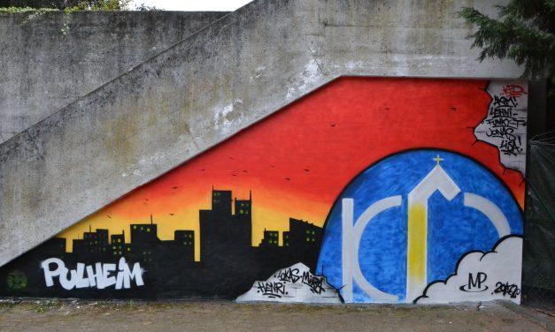 Kunst am Kirchparkplatz: Kinder und Jugendliche sprayen Graffiti