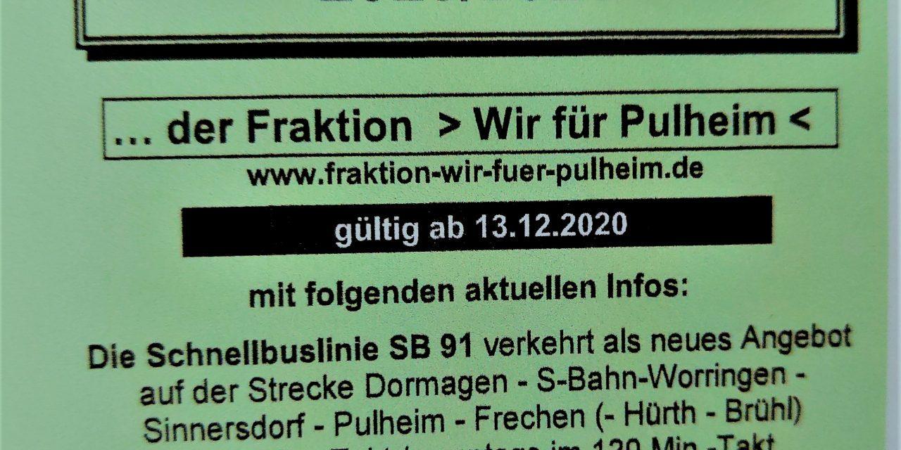 Sinnersdorf: Fahrplan 2020/2021 mit neuer Schnellbuslinie