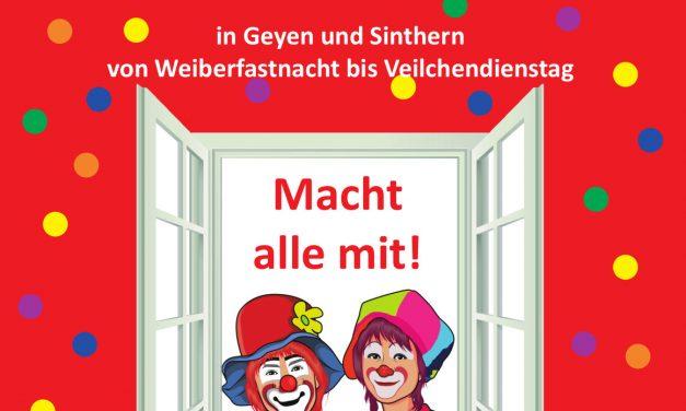 Karnevalsfenster in Geyen und Sinthern